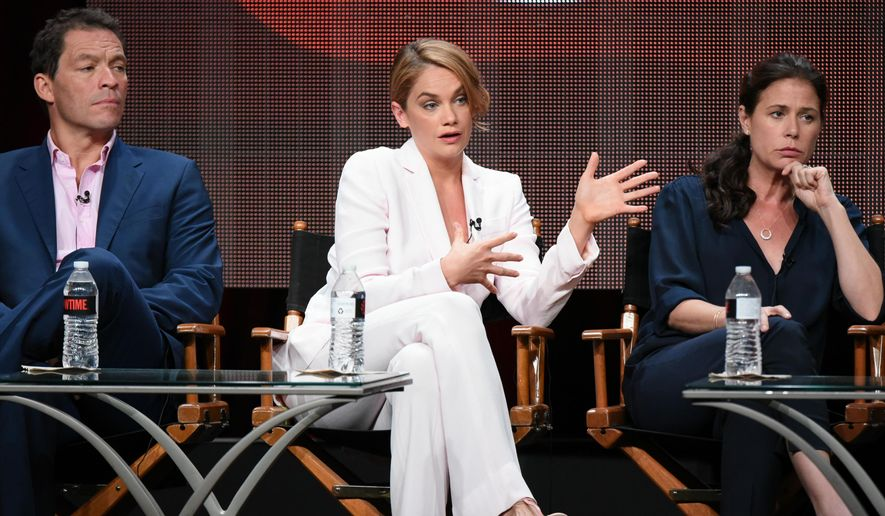 """Actors Dominic West, from left, Ruth Wilson and Maura Tierney participate in the """"The Affair"""" panel at the Showtime Summer TCA Tour at the Beverly Hilton Hotel on Tuesday, Aug. 11, 2015, in Beverly Hills, Calif. (Photo by Richard Shotwell/Invision/AP)"""