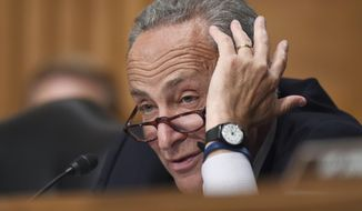 "Sen. Charles Schumer, D-N.Y., is the lone Democratic senator to publicly oppose President Barack Obama's nuclear agreement with Iran said Aug. 11, 2015, that even if the U.S. backs away and other countries lift their sanctions, Iran still will feel ""meaningful pressure"" from the U.S. penalties. (AP Photo/Susan Walsh/File)"