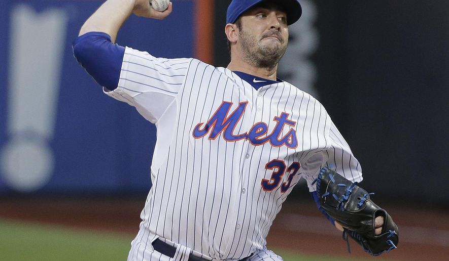New York Mets pitcher Matt Harvey delivers against the Colorado Rockies during the first inning of a baseball game, Tuesday, Aug. 11, 2015, in New York. (AP Photo/Julie Jacobson)
