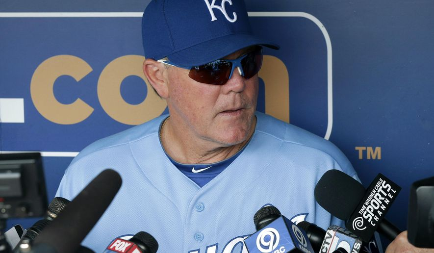 FILE - In this July 9, 2015, file photo, Kansas City Royals manager Ned Yost talks with reporters before a baseball game against the Tampa Bay Rays at Kauffman Stadium in Kansas City, Mo. here were years when Ned Yost was the bench coach in Atlanta that he watched the Braves cruise with big leads late in the season. Now, he is managing the Kansas City Royals with the biggest lead of any team in baseball as the season hits the homestretch. (AP Photo/Orlin Wagner, File)