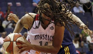 Washington Mystics guard Tierra Ruffin-Pratt, front, drives to the basket past Indiana Fever guard Briann January during the first half of a WNBA basketball game, Tuesday, Aug. 11, 2015, in Washington. (AP Photo/Alex Brandon)