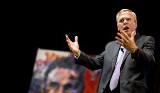 Republican presidential candidate Jeb Bush speaks at the RedState Gathering in Atlanta, in this Saturday, Aug. 8, 2015, file photo. (AP Photo/David Goldman, File)