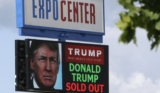 The marquee for the Birch Run Expo Center shows a sold out Republican presidential candidate Donald Trump appearance, Tuesday, Aug. 11, 2015, in Birch Run, Mich. Trump is planning on attending the Lincoln Day Dinner of the Genesee and Saginaw county Republican parties. (AP Photo/Carlos Osorio)