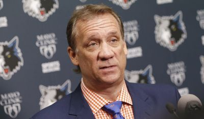 """FILE - This is a June 25, 2015, file photo showing Minnesota Timberwolves president and coach Flip Saunders addressing the media during an NBA basketball news conference in Minneapolis. Saunders says he is being treated for cancer. Saunders announced Tuesday, Aug. 11, 2015, that he has been undergoing chemotherapy treatments for Hodgkin's lymphoma. He says his doctors are calling it """"very treatable and curable."""" (AP Photo/Jim Mone, File) **FILE**"""