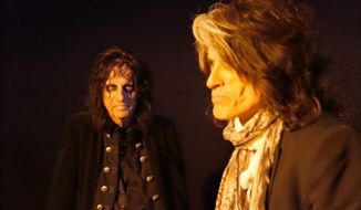 This photo provided by Kyler Clark shows Alice Cooper, left, and Joe Perry from the musical group Hollywood Vampires. On Wednesday, Aug. 12, 2015, the band, which includes Johnny Depp, announced shows on Sept. 16 and 17, at The Roxy in West Hollywood, Calif. (Kyler Clark via AP)