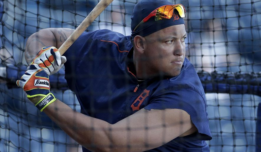 Detroit Tigers' Miguel Cabrera takes batting practice before the Tigers' baseball game against the Kansas City Royals on Tuesday, Aug. 11, 2015, in Kansas City, Mo. (AP Photo/Charlie Riedel)