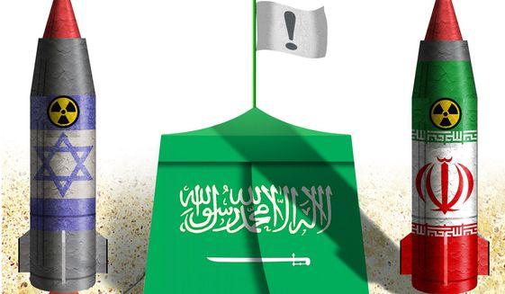 Illustration on Saudi Arabia and a nuclear Iran by Alexander Hunter/The Washington Times