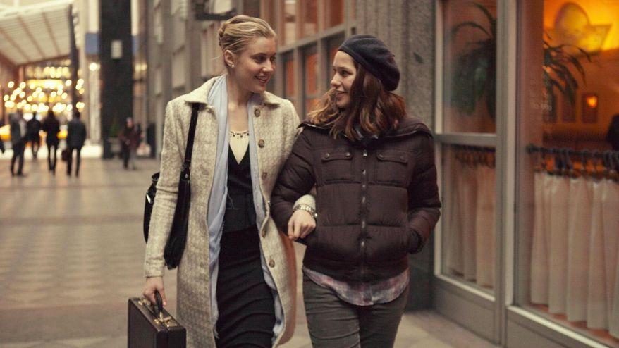 """This photo provided by Fox Searchlight Pictures shows, Greta Gerwig, left, as Brooke, and Lola Kirke, as Tracy, in a scene from """"Mistress America."""" (Fox Searchlight Pictures via AP)"""