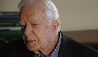 "Former president Jimmy Carter discusses his latest book, ""A Full Life,"" at the Carter Center, Wednesday, July 15, 2015, in Atlanta. Carter says he supports the historic deal to curb Iran's nuclear program, saying the U.S.-led agreement is ""a major step in the right direction."" (AP Photo/Ron Harris"