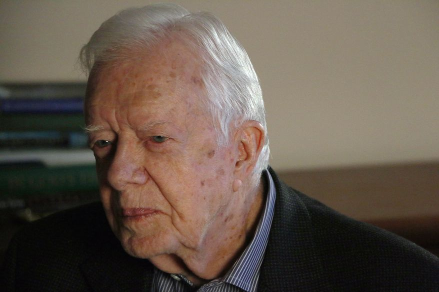"""Former president Jimmy Carter discusses his latest book, """"A Full Life,"""" at the Carter Center, Wednesday, July 15, 2015, in Atlanta. Carter says he supports the historic deal to curb Iran's nuclear program, saying the U.S.-led agreement is """"a major step in the right direction."""" (AP Photo/Ron Harris"""