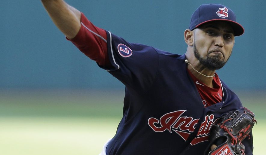 Cleveland Indians starting pitcher Danny Salazar delivers during the first inning of a baseball game against the New York Yankees, Wednesday, Aug. 12, 2015, in Cleveland. (AP Photo/Tony Dejak)