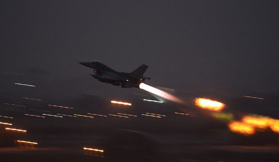 In this image provided by the U.S. Air Force, an F-16 Fighting Falcon takes off from Incirlik Air Base, Turkey, as the U.S. on Wednesday, Aug. 12, 2015, launched its first airstrikes by Turkey-based F-16 fighter jets against Islamic State targets in Syria, marking a limited escalation of a yearlong air campaign that critics have called excessively cautious. (Krystal Ardrey/U.S. Air Force via AP) **FILE**