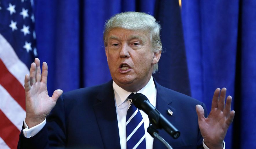 Republican presidential candidate Donald Trump meets the media before addressing a GOP fundraising event, Tuesday, Aug. 11, 2015, in Birch Run, Mich. Trump attended the Lincoln Day Dinner of the Genesee and Saginaw county Republican parties. (AP Photo/Carlos Osorio) ** FILE **