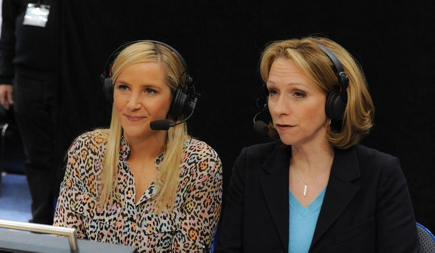 In this March 11, 2013, photo provided by ESPN Images, Brook Weisbrod, left, and Beth Mowins are shown during the women's Big East Championship basketball game in Hartford, Conn. Beth Mowins has spent her accomplished career as a play-by-play announcer trying to tell the story not be it. That will change Friday night when she becomes just the second woman play-by-play announcer ever for an NFL game on the Oakland Raiders local broadcast. (Joe Faraoni/ESPN Images via AP)