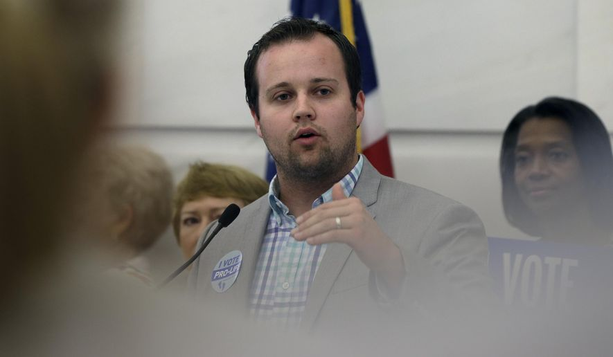 In this Aug. 29, 2014, file photo, Josh Duggar, then executive director of FRC Action, speaks in favor the Pain-Capable Unborn Child Protection Act at the Arkansas state Capitol in Little Rock, Ark. (AP Photo/Danny Johnston, File)