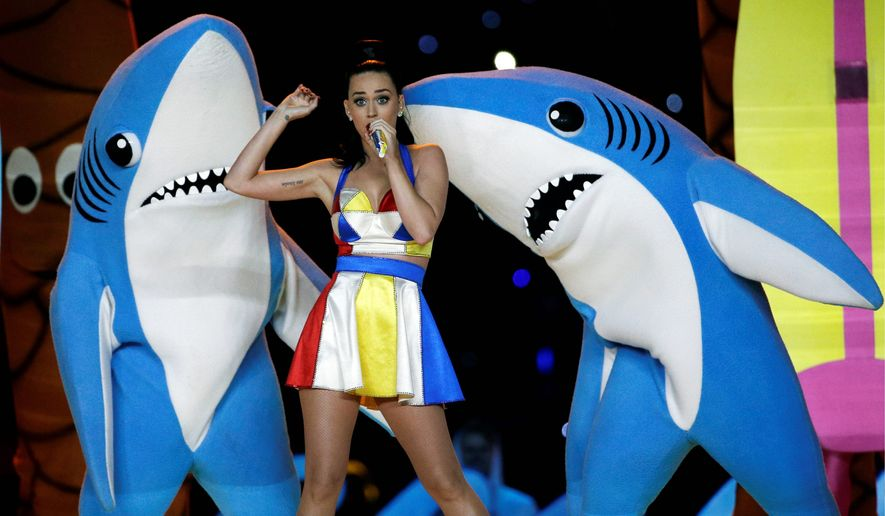 Dancing sharks stole some spotlight from Katy Perry during the Super Bowl halftime show and inspired a crowdfunding campaign that went bad. Now, the owner and donors are coming to terms. (ASSOCIATED PRESS)
