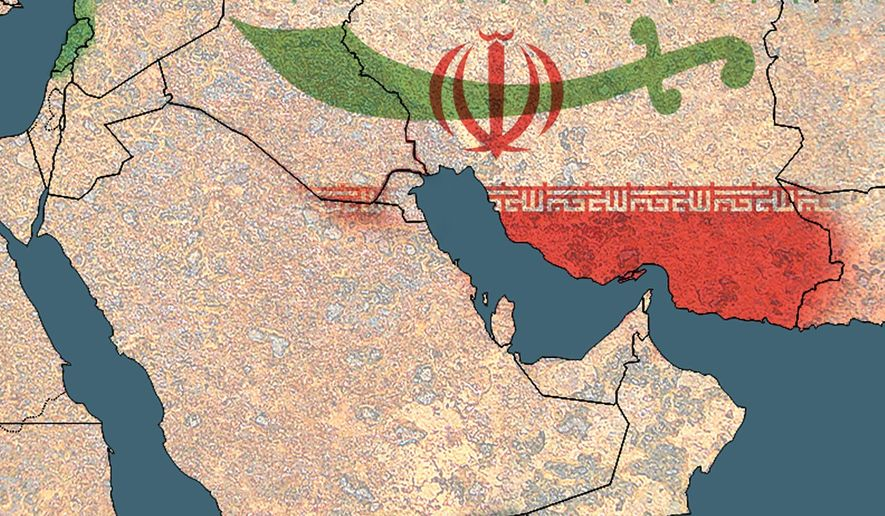 Illustration on Iranian military projection into Iraq by Alexander Hunter/The Washington Times