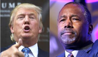 The possibility of a Donald Trump/Ben Carson presidential ticket for 2016 has surfaced in the news media. (Associated Press) ** FILE **