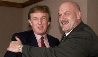 In this Jan. 7, 2000, file photo, potential Reform Party presidential candidate Donald Trump, left, greets Minnesota Gov. Jesse Ventura in Minneapolis. Ventura said Wednesday, Aug. 12, 2015 that he hopes Trump wins the Republican nomination for president and would be open to running as his vice president. (AP Photo/Richard Drew, File)