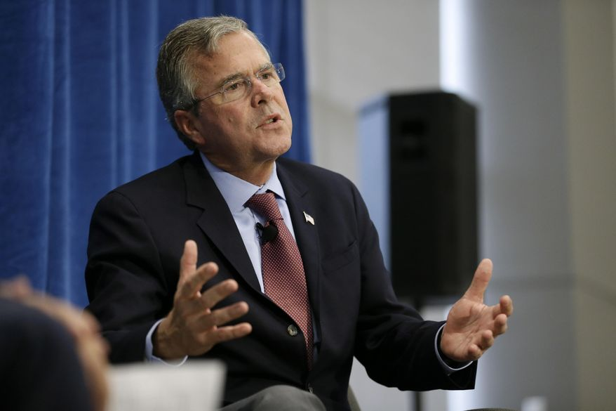 Republican presidential candidate and former Florida Gov. Jeb Bush speaks during a forum sponsored by Americans for Peace, Prosperity and Security at St. Ambrose University in Davenport, Iowa, on Aug. 13, 2015. (Associated Press) **FILE**