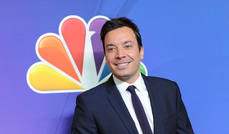 "In this May 12, 2014, file photo, ""The Tonight Show"" host Jimmy Fallon attends the NBC Network 2014 Upfront presentation at the Javits Center in New York. (Photo by Evan Agostini/Invision/AP, File)"