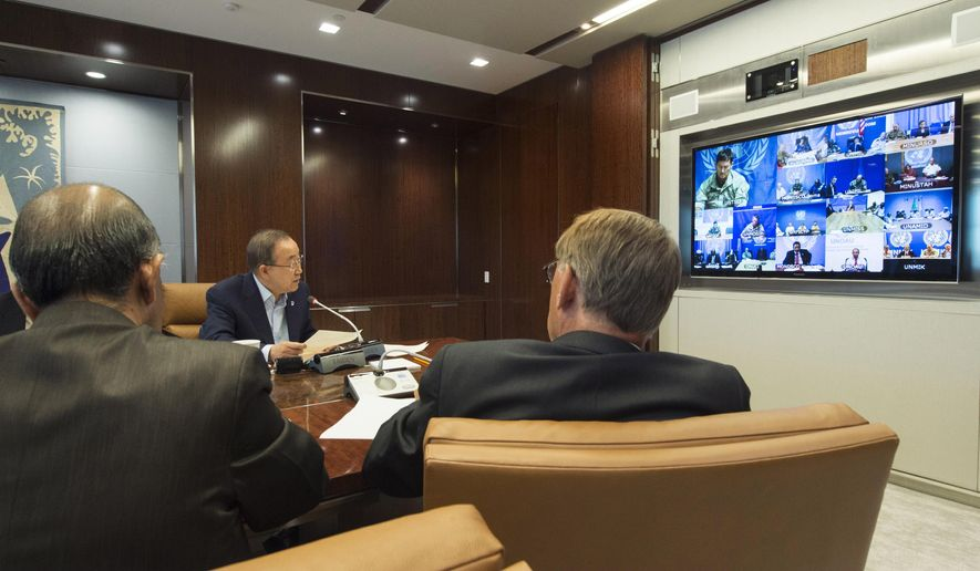 In this photo provided by the United Nations, U.N. Secretary General Ban Ki-moon, center, speaks with U.N. Special Representatives, Force Commanders and Police Commissioners in all U.N. peacekeeping operations during a video conference at U.N. headquarters, Thursday, Aug. 13, 2015. Widespread relief greeted the resignation of Babacar Gaye, the head of the peacekeeping mission in Central Africa Republic, over the force's handling of dozens of misconduct allegations, including rape and killing. (Eskinder Debebe/United Nations via AP)
