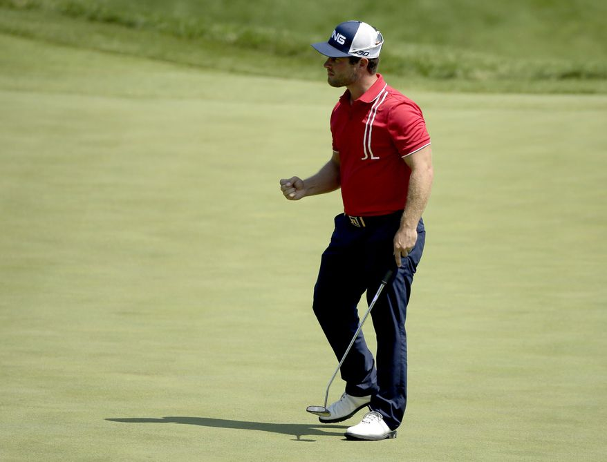 David Lingmerth, of Sweden, reacts to his birdie on the 18th hole during the second round of the PGA Championship golf tournament Friday, Aug. 14, 2015, at Whistling Straits in Haven, Wis. (AP Photo/Chris Carlson)