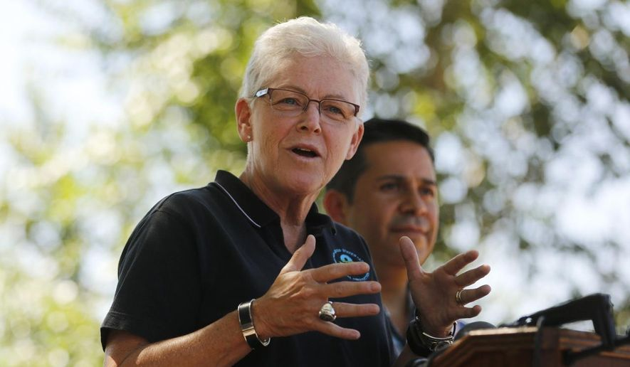 Environmental Protection Agency Administrator Gina McCarthy speaks during a news conference with U.S. Rep. Ben Ray Lujan (right), on Aug. 13, 2015, along the Animas River Trail in Berg Park in Farmington, N.M. (Jon Austria/The Daily Times via Associated Press) ** FILE **