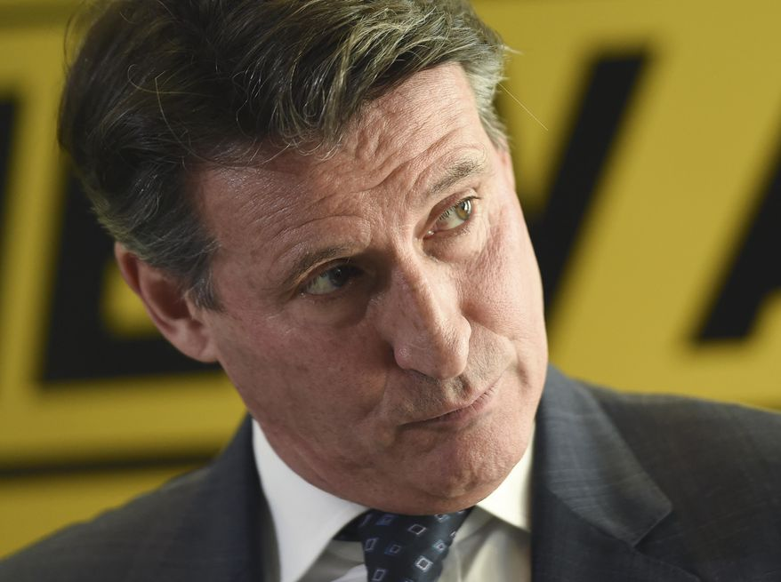 FILE - In this Dec. 3, 2014 file photo, former Olympic champion Sebastian Coe unveils his IAAF presidential campaign manifesto at the British Olympic Association in London, England. As the election campaign entered its final stages, Coe, a British former Conservative Party lawmaker and a member of the House of Lords, a two-time Olympic 1,500-meters champion and key figure in the team that won the right to host the 2012 Olympics and then organized the London Games, timed his kick for maximum effect with the kind of us-against-them statement designed to galvanize support in his run for the presidency of the track and field international governing body. (AP Photo/Tim Ireland, File)