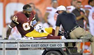 Washington Redskins tight end Niles Paul (84) leaves the game in the first quarter after an injury during an NFL preseason football game against the Cleveland Browns, Thursday, Aug. 13, 2015, in Cleveland. (AP Photo/David Richard)