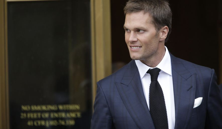 New England Patriots quarterback Tom Brady leaves federal court Wednesday, Aug. 12, 2015, in New York. Brady left the courthouse after a full day of talks with a federal judge in his dispute with the NFL over a four-game suspension. (AP Photo/Mary Altaffer)
