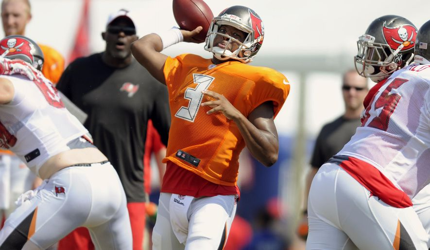 Tampa Bay Buccaneers quarterback Jameis Winston passes during an NFL football training camp, Tuesday, Aug. 11, 2015, in Tampa, Fla. (Chris Urso/The Tampa Tribune via AP)  ST. PETERSBURG OUT; LAKELAND OUT; BRADENTON OUT; MAGS OUT; LOCAL TELEVISION OUT; WTSP CH 10 OUT; WFTS CH 28 OUT; WTVT CH 13 OUT; BAYNEWS 9 OUT; THE TAMPA BAY TIMES OUT; LAKELAND LEDGER OUT; BRADENTON HERALD OUT; SARASOTA HERALD-TRIBUNE OUT; WINTER HAVEN NEWS CHIEF OUT; MANDATORY CREDIT