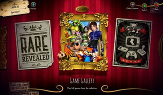 A festive navigation screen offers access to 30 games and multimedia features in the Rare Replay collection for Xbox One owners.