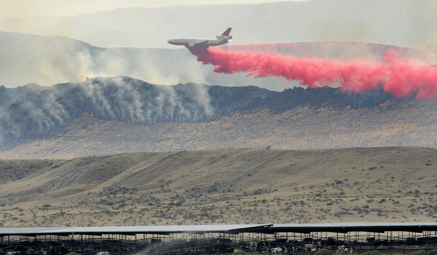 A plane tries to help put out a wildfire burns near the Reynolds Creek area in the Owyhee Mountains, Idaho, Friday, Aug. 14, 2015. The blaze on the Idaho-Oregon border grew Friday, scorching grassland ranchers need to feed cattle and primary habitat for sage grouse, a bird being considered for federal protection. (Adam Eschbach/The Idaho Press-Tribune via AP)  MANDATORY CREDIT