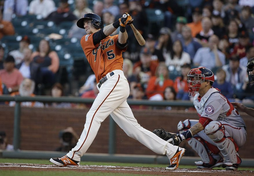 San Francisco Giants' Matt Duffy hits a home run off Washington Nationals starting pitcher Max Scherzer in the first inning of their baseball game Friday, Aug. 14, 2015, in San Francisco. At right is Nationals catcher Jose Lobaton. (AP Photo/Eric Risberg)