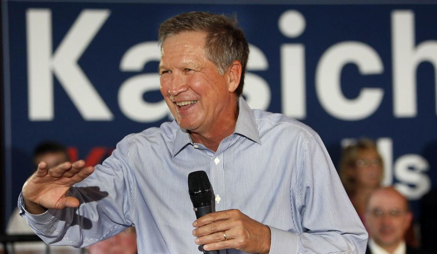 Republican presidential candidate, Ohio Gov. John Kasich speaks to a packed crowd during a campaign stop at the VFW in Derry, N.H., in this Aug. 12, 2015, file photo. (AP Photo/Jim Cole)