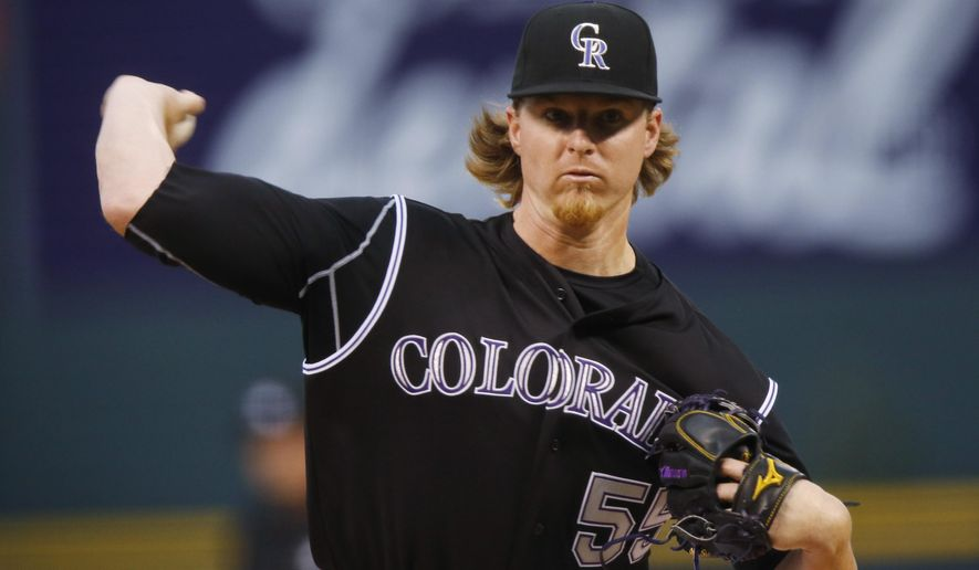 Colorado Rockies starting pitcher Jon Gray works against the San Diego Padres in the first inning of a baseball game Saturday, Aug. 15, 2015, in Denver. (AP Photo/David Zalubowski)