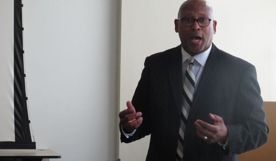 Harvey Reed, director of the Ohio Department of Youth Services, explains the agency's expansion of family visitation to seven days a week, on Thursday, Aug. 13, 2015, in Columbus, Ohio. Reed says not all parents or guardians can visit the state detention facilities during the week and it's important to keep family members engaged with their children. (AP Photo/Andrew Welsh-Huggins)