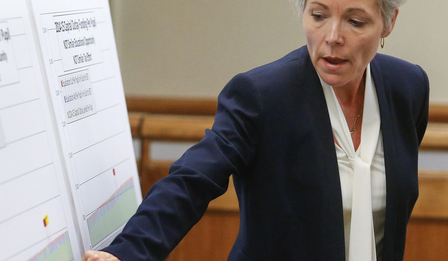 FILE - In this May 7, 2015 file photo, Cythnia Lane, superintendent for USD 500 in Kansas City, Kan., shows her school district's position on a graph depicting capital outlay funding per pupil during a Shawnee County District Court hearing on a school funding lawsuit in Topeka, Kan. The Kansas City district is asking the state to provide $2.7 million in additional aid because it has seen an increase in its student numbers. (Chris Neal/The Topeka Capital-Journal via AP, File)