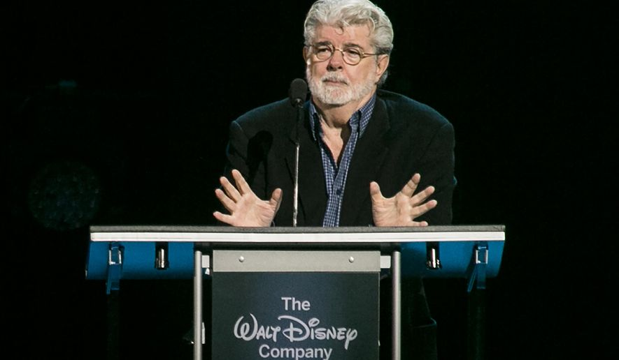 "CORRECTS YEAR TO 2015, NOT 2014 - ""Star Wars"" creator, filmmaker George Lucas is honored with the Disney Legends Award, Friday, Aug. 14, 2015, in Anaheim, Calif. Lucas sold his company, and his iconic ""Star Wars"" film franchise, to Disney for $4 billion. (AP Photo/Damian Dovarganes)"