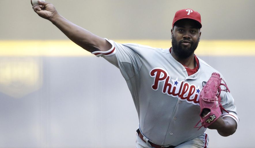 Philadelphia Phillies starting pitcher Jerome Williams throws to the Milwaukee Brewers during the first inning of a baseball game Saturday, Aug. 15, 2015, in Milwaukee. (AP Photo/Jeffrey Phelps)