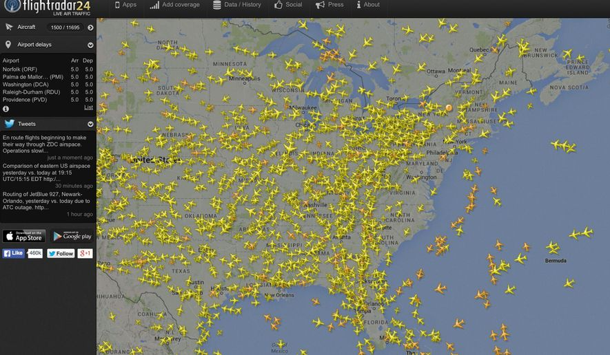 "This image made from the website Flightradar24.com shows air traffic over the eastern half of the United States on Saturday, Aug. 15, 2015 at 4 p.m. EDT. Flights bound for the Washington area and some flights from airports in the New York City area that must fly over the Washington region were being delayed or grounded Saturday due to ""technical issues"" at an air traffic control center in Virginia, the Federal Aviation Administration said. (Flightradar24.com via AP) MANDATORY CREDIT: FLIGHTRADAR24.COM"