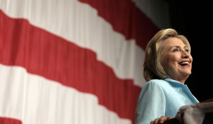 Democratic presidential candidate Hillary Rodham Clinton speaks at the at the Iowa Democratic Wing Ding at the Surf Ballroom in Clear Lake, Iowa. (AP Photo/Charlie Riedel, File)