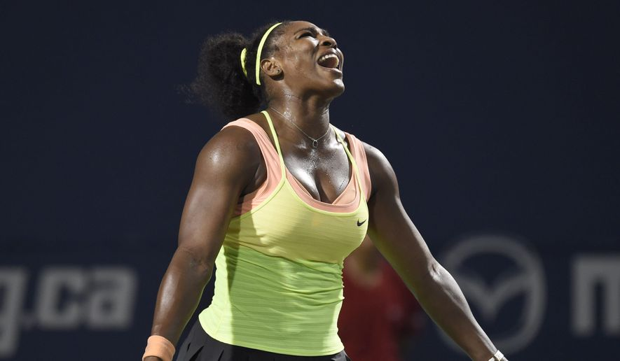 Serena Williams, of the United States, reacts while playing against Belinda Bencic, of Switzerland, during the Rogers Cup semifinal tennis tournament, Saturday, Aug. 15, 2015 in Toronto. (Frank Gunn/The Canadian Press via AP) MANDATORY CREDIT