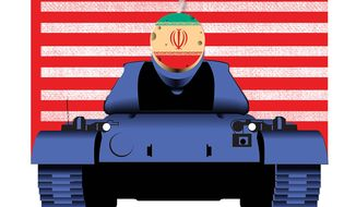 Illustration on the loss of U.S. military options after the Obama/Iran nuclear arms deal takes effect by Linas Garsys/The Washington Times