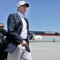 Donald Trump shown here in Laredo, Texas before a tour of the Texas/Mexico border. He outlined his views on the U.S.-Mexico border Sunday. Mr. Trump leads the GOP presidential pack, with 25 percent support. (Associated Press)