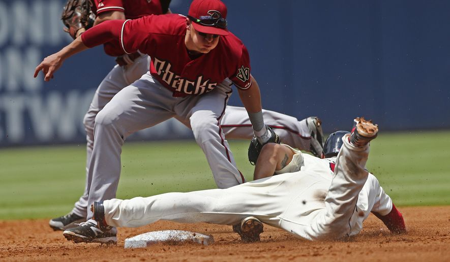 Atlanta Braves' Jace Peterson is tagged out by Arizona Diamondbacks shortstop Nick Ahmed (13) as he tries to steal second base in the second innings of a baseball game Sunday, Aug. 16, 2015, in Atlanta. (AP Photo/John Bazemore)