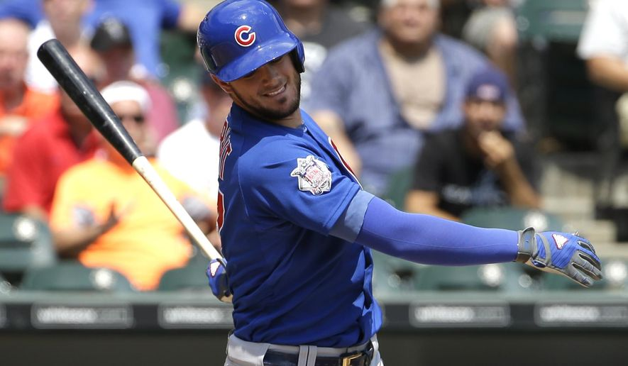 Chicago Cubs' Kris Bryant reacts after striking out swinging during the first inning of an interleague baseball game against the Chicago White Sox Sunday, Aug. 16, 2015, in Chicago. (AP Photo/Nam Y. Huh)