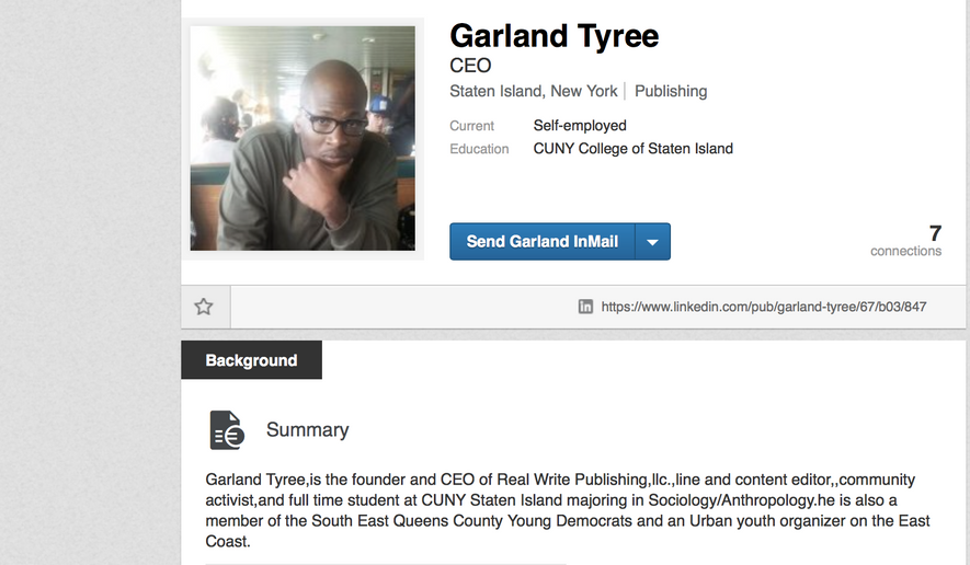 Screenshot of Garland Tyree's Linkedin page