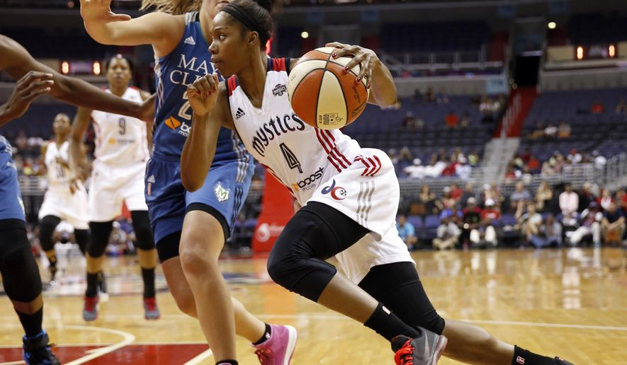 Washington Mystics guard Tayler Hill (4) drives past Minnesota Lynx guard Tricia Liston during the first half of a WNBA basketball game Sunday, Aug. 16, 2015, in Washington. (AP Photo/Alex Brandon)